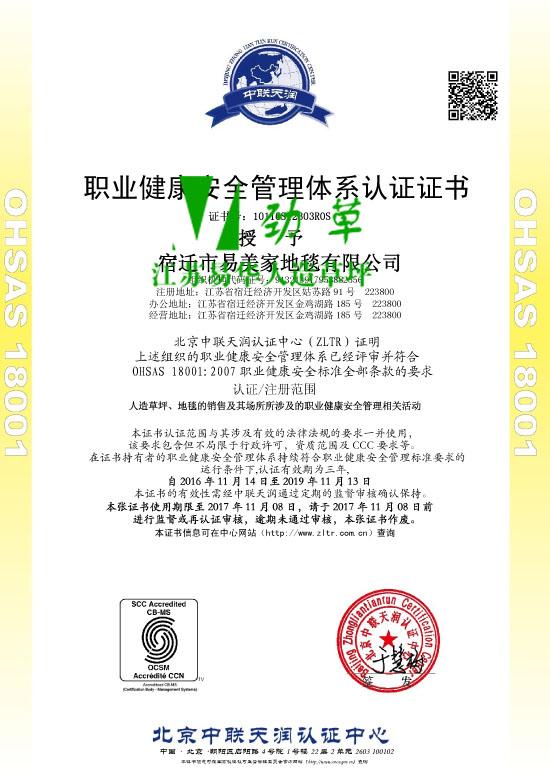 职业健康安全管理体系认证证书OHSAS 18001:2007中文版