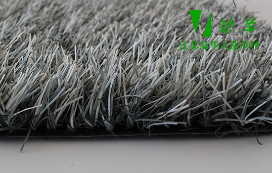 蓝白色仿真草坪侧面图,灰白色直加曲20mm仿真草坪